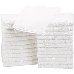 AmazonBasics - Paños de algodón (30,5 x 30,5 cm), pack de 24 - Blanco