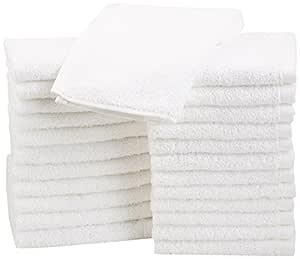 AmazonBasics Cotton Face Towel - Pack of 24, White