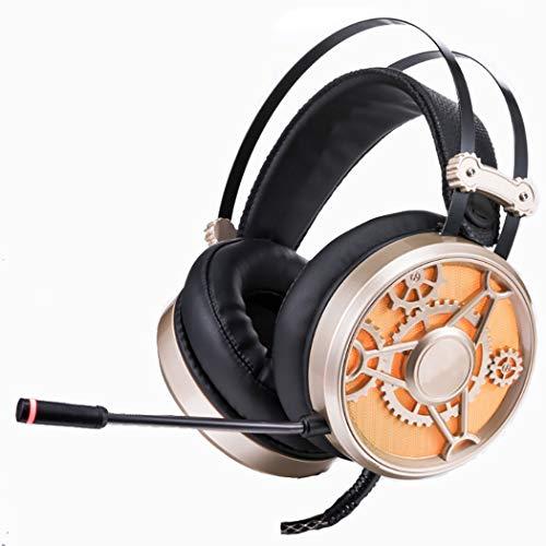 �r Head-Mount-Gaming-Leuchten, 50 mm große Lautsprechereinheit für E-Sports, 360 ° Rundstrahl-Tonabnehmer, LED-Hintergrundbeleuchtung Headset (Farbe : Black Gold) ()