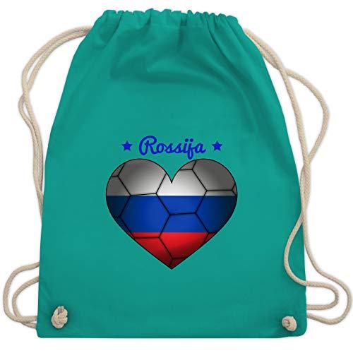 Handball WM 2019 - Handballherz Russland - Unisize - Türkis - WM110 - Turnbeutel & Gym Bag -