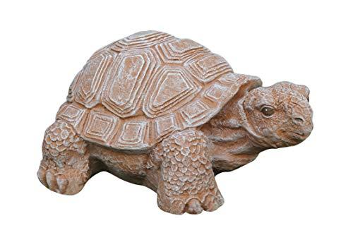 Tiefes Kunsthandwerk Gartenfigur Schildkröte groß - Terrakotta, Deko, Figur, Garten, Stein, frostsicher