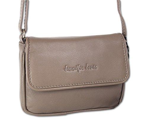 Jennifer Jones Taschen Damen 100% Leder Damentasche Handtasche Schultertasche Umhängetasche Tasche klein Crossbody Bag grau / schwarz / taupe (6125) Taupe
