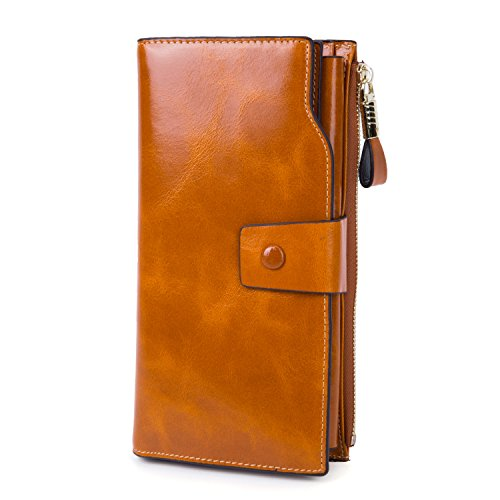Women's Large Capacity Luxury Wax Smooth Finish Genuine Leather Zipper Clutch Wallet Card Holder Ladies Travel Purse - Brown Tan