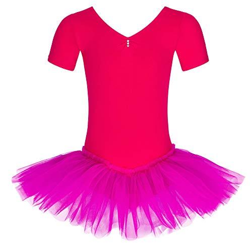 tanzmuster ® Ballettkleid Mädchen Kurzarm - Nele - (Größe 92-170) aus Baumwolle mit Glitzersteinen, Ballettbody mit Tutu in pink, Größe 116/122