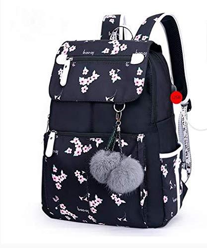 zaino scuola femminile moda borse scuola usb per ragazze zaino nero peluche ragazza zainetto farfalla decorazione Fiore