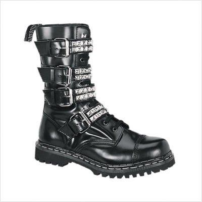 Demonia Gravel-10S - scarpe gotiche punk Industrial ranger stivali 36-46, US-Herren:EU-36 (US-M4)