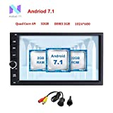 "Freeauto 7"" Pantalla Autoradio 2 Din Andorid 7.1 Universal (2GB RAM, 32GB ROM) Soporta GPS / Mirror-link / Control de Volante / 3G / WiFi / USB / SD / Bluetooth / AV-OUT / DVR / 1080P Vídeo"