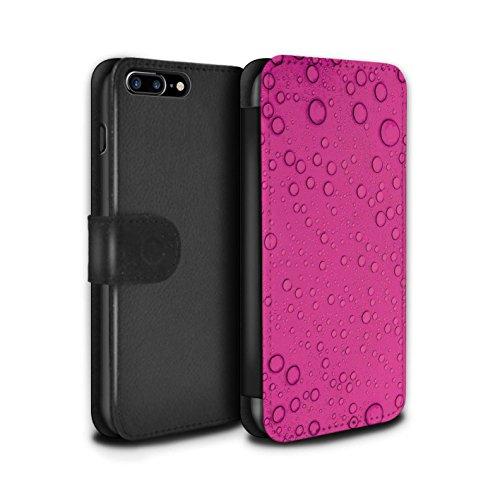 Stuff4 Coque/Etui/Housse Cuir PU Case/Cover pour Apple iPhone 7 Plus / Bleu Design / Gouttelettes Eau Collection Rose