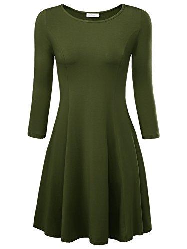 BAISHENGGT Damen Skaterkleid Rundhals 3/4-Arm Fattern Stretch Basic Kleider Gruen XL