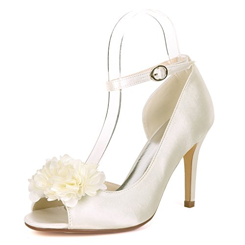 JRYYUE Damen hochzeitsschuhe Sommer Braut Schnalle Zehen öffnen Klassische Glänzend Pumps High Heels Sandalen Abiball 9CM Elegante Hochzeitsschuhe,Ivory,9UK42