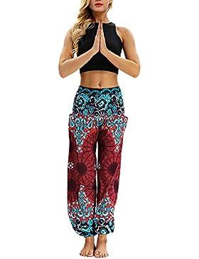 Mujer Pantalones Aladdin Impresión Digital Pantalon Flojos De Pierna Ancha Bohemia Pant De Yoga Bombachos Harén
