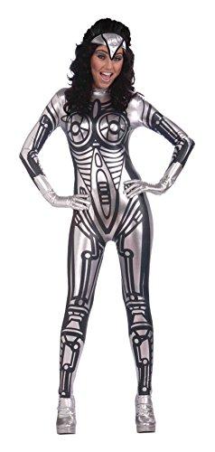 Bristol Novelty AC286 Roboter Kostüm für Damen, Schwarz, Size 10-14 (Roboter Kostüm Handschuhe)