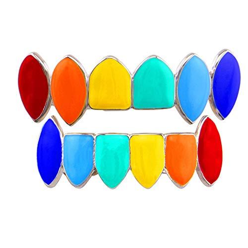 LYQ Home Zahngrills 14k Gold versilbert Regenbogenfarbe Vampir Fangs Grillz Set ZähnGrillz für Partys Proms (Farbe : Silber) Vampire Fang Grillz