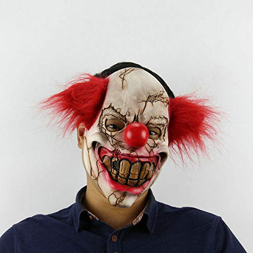 Edelehu Faule Gesicht Clown Halloween Maske Scary Gruselige Horror Cosplay Kostüm Bandana Latex Scary Kopf Zombie Maske (Clown Gesichter Halloween Scary)