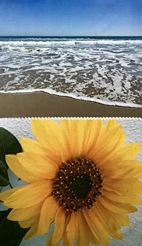 molinoRC 2X Mikrofaser Brillenputztuch - Brille - Sonneblume und Strand mit Wellen - groß - 18cm x 14,5cm - Putztuch Displayputztuch Reinigungstuch für Kamera iPad iPhone Tablet PC