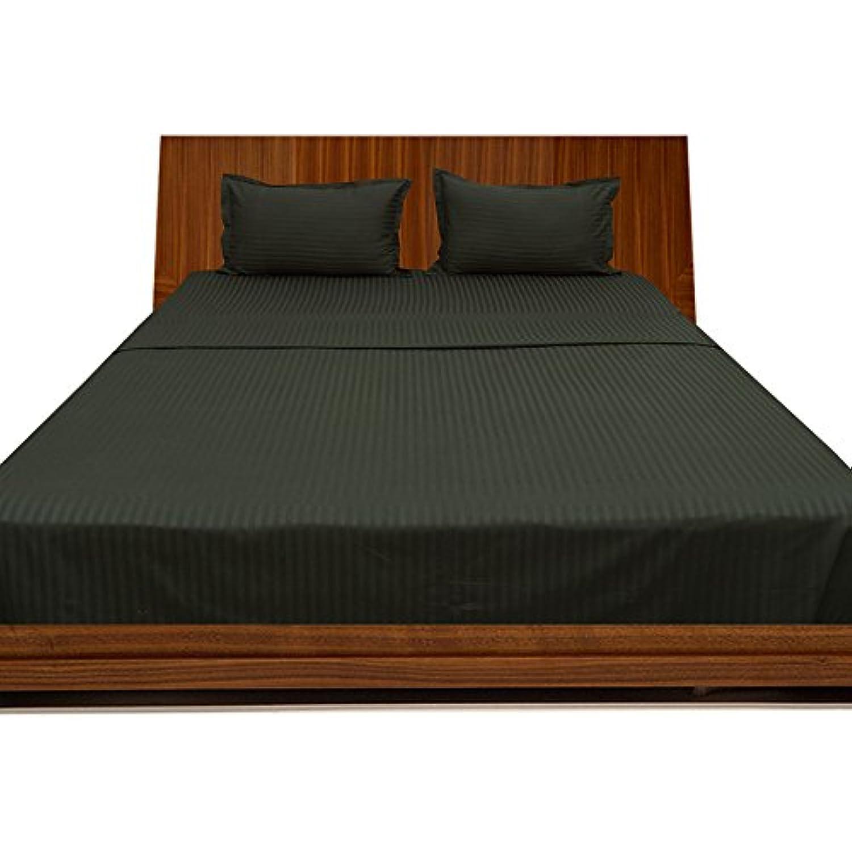 laxlinens égyptien 400 fils Feuille de lit en coton coton coton Lot de 6 (+ 76,2 cm) poche profonde suppléHommes taire Taille UK Petit simple longue, noir à rayures d0f760