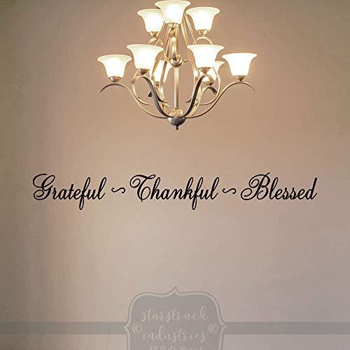 Grateful Thankful Blessed - Esszimmer-Wand-Dekor-Aufkleber, Tafelaufsatz, elegant, rustikal, modernes Dekor
