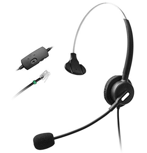 Wantek Telefon Headset Wired mit Flexible Noise Cancelling Mikrofon und Volume Mute Control für Aastra Nortel Nec Mitel ShoreTel Toshiba Siemens GE InterTel Sprint 3Com Büro IP Telefone(110B001A)