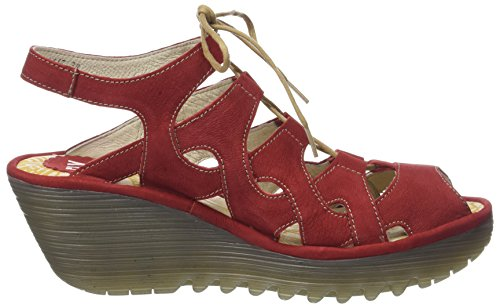 Fly London Yexa916fly, Sandales Bout Ouvert Femme Rouge (Lipstick Red)