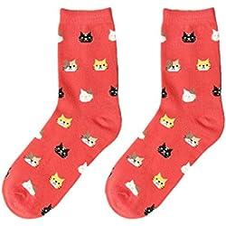 Calcetínes de Algodon, Holacha Calcetínes Patron de Gato Lindo Comodo para Mujeres Chicas elásticas (rojo)