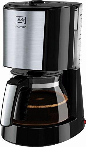 Melitta 1017-04, Filterkaffeemaschine mit Glaskanne, AromaSelector, Schwarz Kaffeemaschine ENJOY TOP, Edelstahl, 1.2 liters