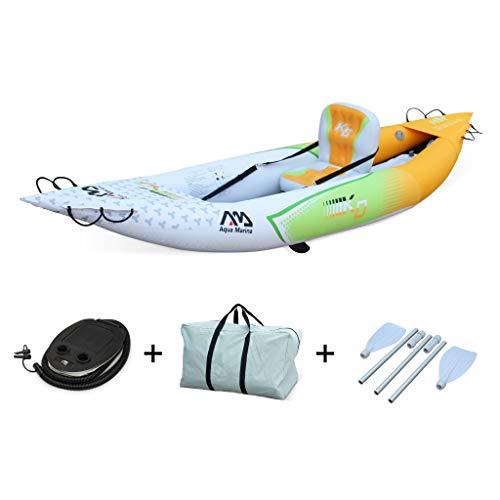 Alice's Garden - Canoe kayak Betta K0 hinchable monoplaza con inflador, remos, mochila de transporte