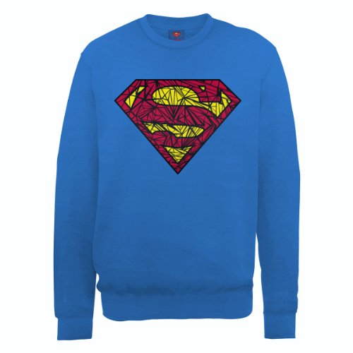 DC Comics - Felpa, Manica lunga, Uomo blu (Royal Blue)