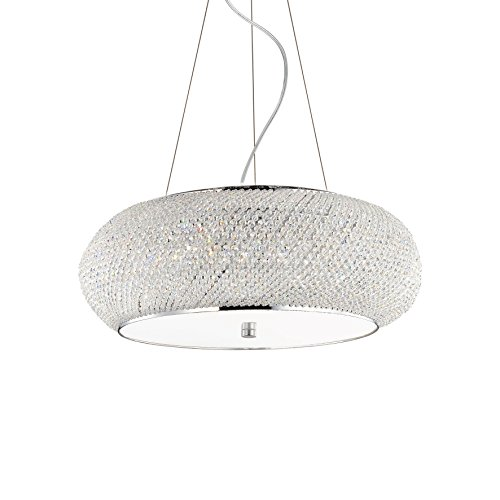 L'Aquila Design Arredamenti Ideal Lux Lampe à Suspension Pasha SP10 Couleur Chrome et Monture en métal
