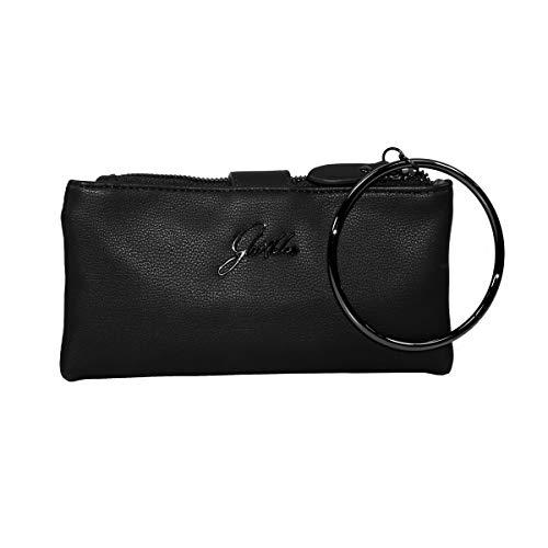 Glüxklee XL Damen Geldbörse mit Handgelenk-Ring (Schwarz)