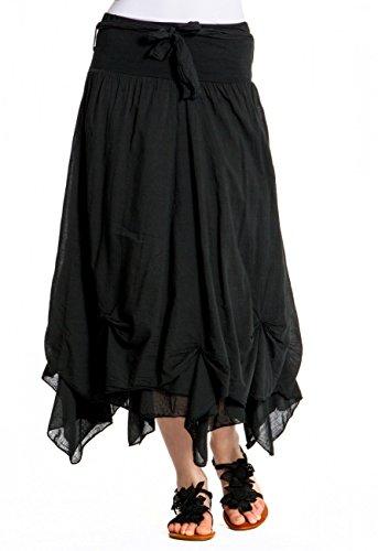 CASPAR RO003 Damen Baumwoll Rock, Farbe:schwarz