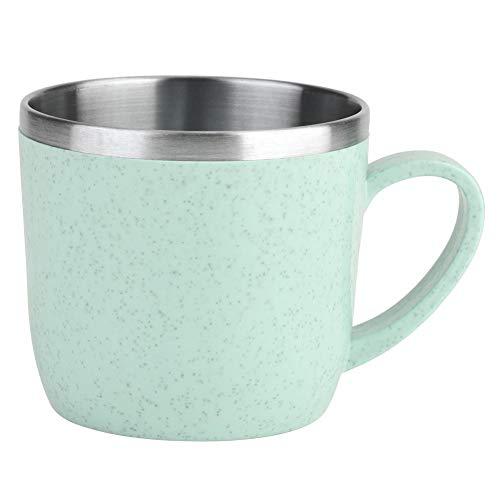 Taza de Paja de Trigo de Acero Inoxidable Frascos Térmicos Aislamiento Agua Jugo de Café Taza de Leche 220 ml(Verde)