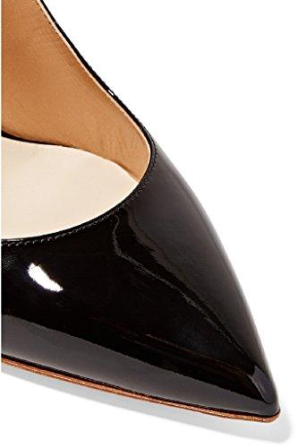 Kolnoo Damen Faschion Wölbungs-Knöchel-Bügel-Glanzleder-Partei-hohe Absätze Schuhe Black