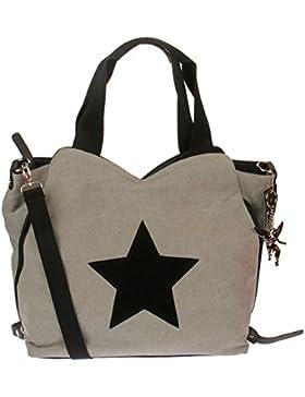 Kossberg Damen Tasche Schultertasche Umhängetasche mit Leder Stern Shopper F-3151-1