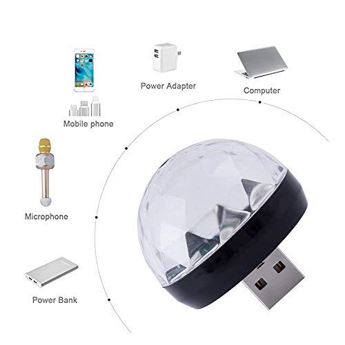 Gaddrt Disco Light USB-Mini-LED-Nachtlicht-USB Mini RGB Bühnenlicht Party Club DJ KTV Weihnachten Magische Telefon Ball Lampe Party Lampe 4X4cm (Black)
