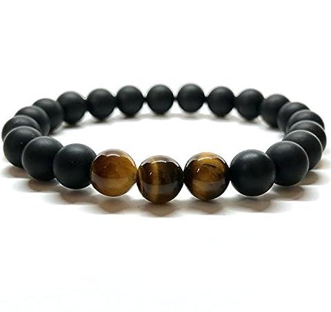 GOOD.designs Perlenarmband aus Tigeraugen- / Onyx-Natursteinen, Freundschaftsarmband aus echten Halbedelsteinen