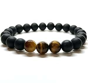 GOOD.designs Perlenarmband aus Tigeraugen- / Onyx-Natursteinen, Freundschaftsarmband aus echten Halbedelsteinen (Tiger Gold/Onyx 8mm)