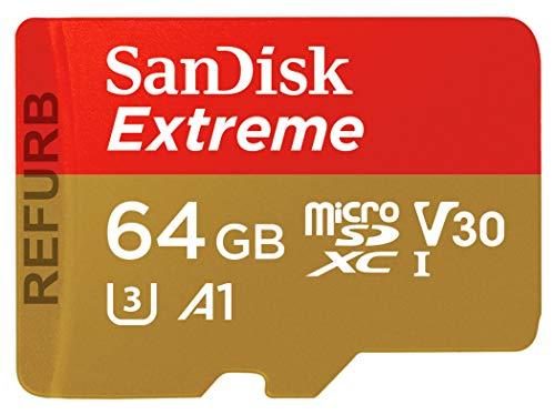 SanDisk Extreme 64 GB microSDXC Speicherkarte + SD-Adapter bis zu 100 MB/Sek, Class 10, U3, V30, A1 (Zertifiziert und Generalüberholt)