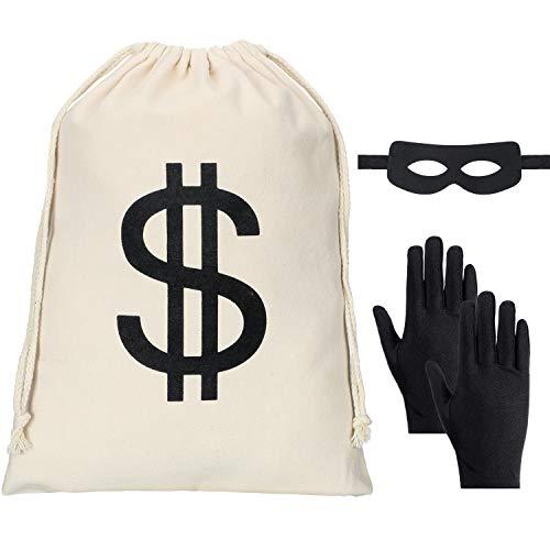 Räuber Kostüm - Räuber Kostüm Set, inklusive Dollarzeichen Geldsack, Schwarze Banditenhandschuhe, Banditenaugenmaske für Halloween Party Piraten Dieb Cosplay Kostüm