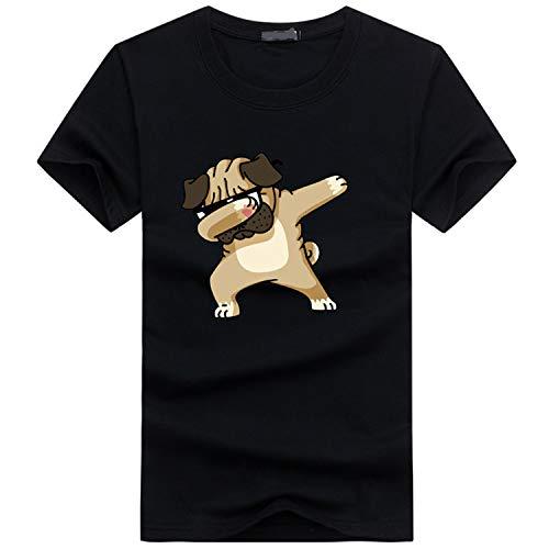 Herren T-Shirts 3D Muster Kurzen Shirt Sport Fitness T-Shirt Rundhalsausschnitt Lässige Graphics Tees,Kurzarm T-Shirt Baumwolle Halbarm Top Farbe2 L