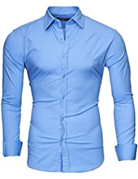 Kayhan Hombre Camisa manga larga Slim Fit S-6XL - Modello Uni