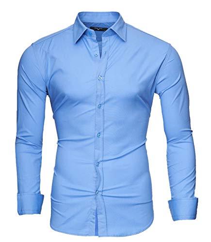 Kayhan Homme Chemise uni Langarmhemd, Light Blue (L)