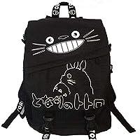 Bonamana My Neighbor Totoro Cartoon Canvas backpack bag School bag (Black)