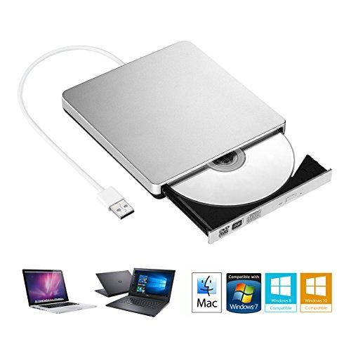 lecteur graveur DVD externe CD, lecteur de CD RW Graveur de DVD avec Silvery classique pour Apple MacBook Air, MacBook Pro, Mac OS, ordinateur portable
