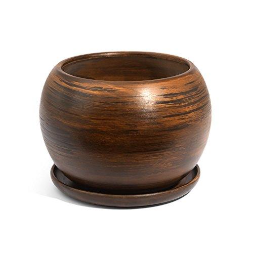Pot de fleur ceramique Globe avec soucoupe support hauteur 13 cm diametre 15 cm couleur de beton