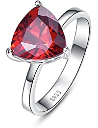 bonlavie Mujer 6,15Ct 925plata de ley con forma de triángulo rojo Garnet Birthstone Anillo de compromiso