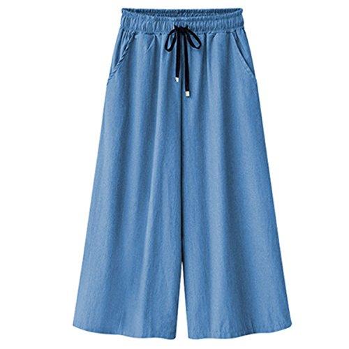 Westlink Women's Elastic Waist Wide Leg Loose Cropped Capris Drawstring Jeans Casual Ankle Culottes Pants Hose (Capri Womens Spandex Pants)