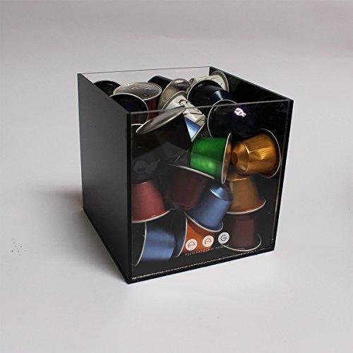 .:plexiartglass:. porta capsule cubo senza coperchio nero+trasparente in plexiglass made in italy