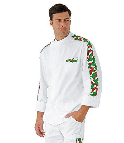 Isacco - Veste Chef Cuisinier Manhattan Blanc imprimé Italy 100% Coton Blanc