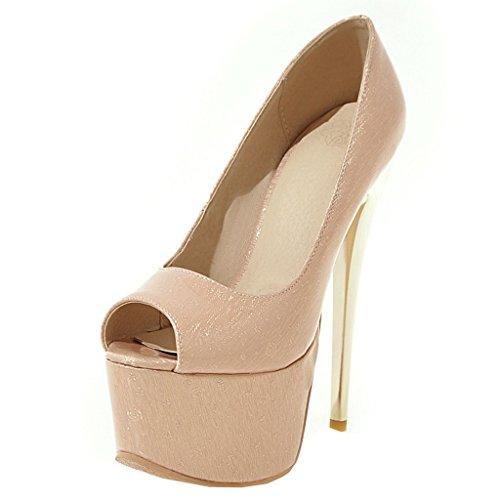 ENMAYER Frauen Lackleder Sexy Plattform Stiletto Super High Heels Runde und Peep Toe Pumps Slip auf Hochzeitskleid Court Schuhe 34 B(M) EU Aprikose#38