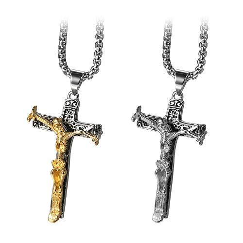 cs Retro Herren Halskette Edelstahl Gotik Schädel Skelett Knochen Kreuz Anhänger mit 22 Zoll Kette Gold Silber ()